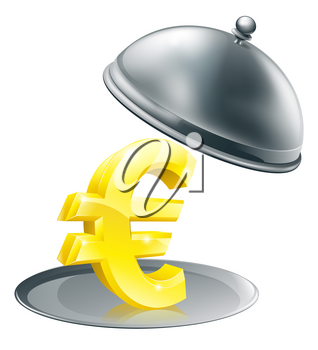 A Euro sign on silver platter. Conceptual illustration for money making opportunity or perhaps to do with expensive dinning