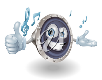 A happy speaker mascot giving a thumbs up with musical notes