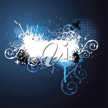 Royalty Free Clipart Image of a Grunge Background With Flourishes