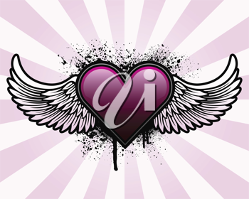 Royalty Free Clipart Image of a Grunge Heart With Wings