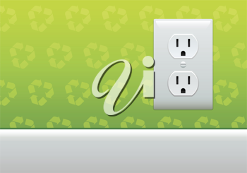 Royalty Free Clipart Image of an Outlet on a Wall With Recycling Symbols
