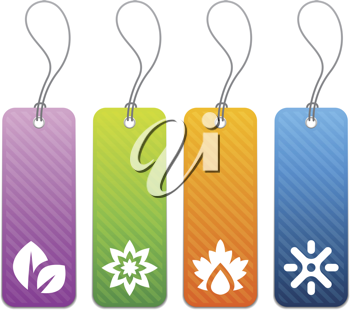 Royalty Free Clipart Image of Four Tags