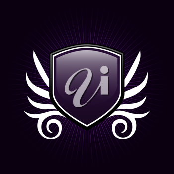 Royalty Free Clipart Image of a Purple Shield