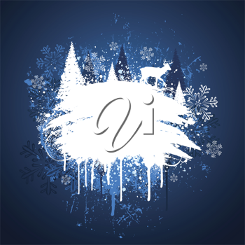 Royalty Free Clipart Image of a Grunge Background With Trees and a Reindeer