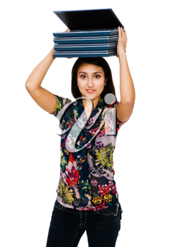 Royalty Free Photo of a Woman Carrying Laptops