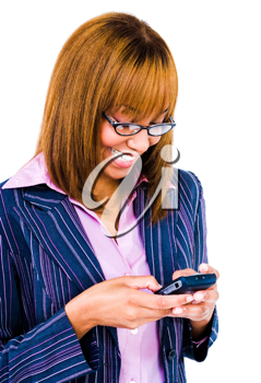 Woman text messaging with a mobile phone isolated over white