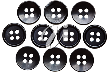 Ten buttons in order isolated over white