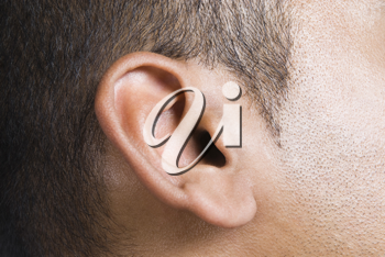 Close-up of a man's ear