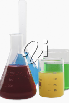 Close-up of laboratory glassware with chemicals