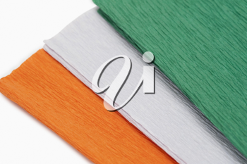 Close-up of colorful papers representing Indian flag