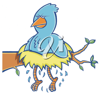Royalty Free Clipart Image of a Bird With Its Legs Sticking Out of a Nest