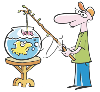 Royalty Free Clipart Image of a Man Fishing in a Fish Bowl