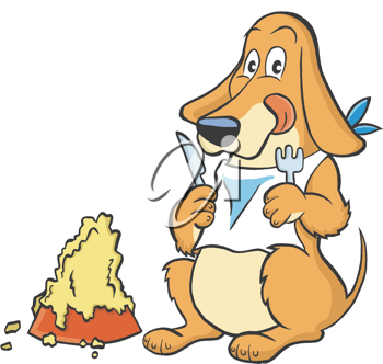 Royalty Free Clipart Image of a Hungry Dog With a Big Bowl of Food