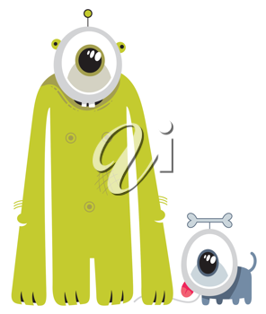 Royalty Free Clipart Image of an Alien and His Dog