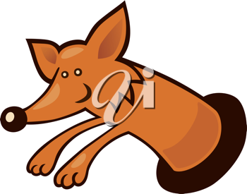 Royalty Free Clipart Image of a Fox Coming Out of a Hole