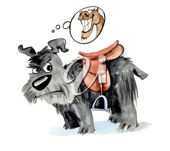 Royalty Free Clipart Image of a Dog With a Saddle