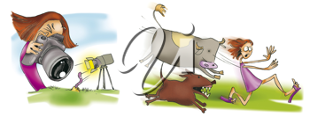 Royalty Free Clipart Image of a Girl Taking Pictures Then Being Chased by Animals