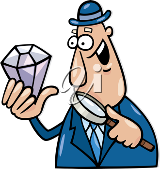 Royalty Free Clipart Image of a Man With a Diamond