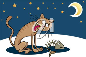 Royalty Free Clipart Image of a Hungry Cat and a Fish Bone