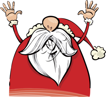 Royalty Free Clipart Image of Santa With His Arms Raised