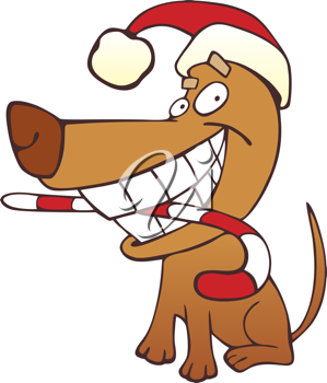 Royalty Free Clipart Image of a Funny Dog in a Santa Hat With a Candy Cane