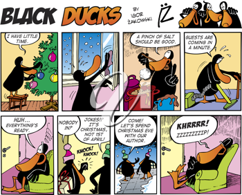 Royalty Free Clipart Image of a Black Ducks Comic Strip About Getting Ready for Christmas Guests