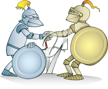 Royalty Free Clipart Image of Knight Shaking Hands