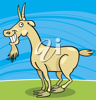 Royalty Free Clipart Image of a Smiling Goat