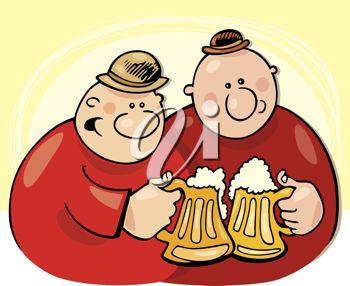 Royalty Free Clipart Image of a Two Men Drinking Beer