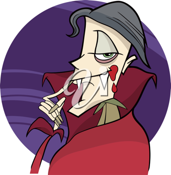 Royalty Free Clipart Image of a Funny Vampire