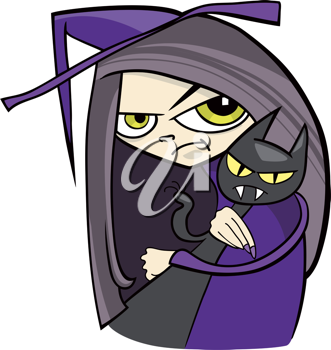 Royalty Free Clipart Image of a Witch and Black Cat