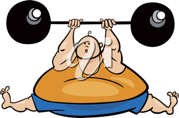 Royalty Free Clipart Image of a Fat Person Holding a Barbell