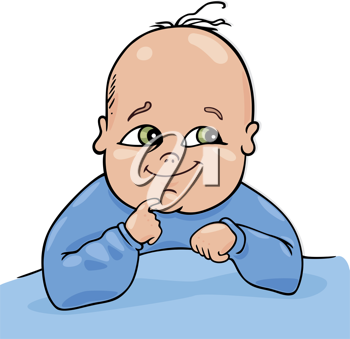 Royalty Free Clipart Image of a Baby Boy