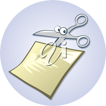 Royalty Free Clipart Image of Cartoon Scissors Cutting Paper