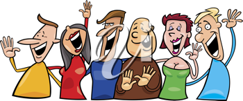 Royalty Free Clipart Image of a Group of Happy People