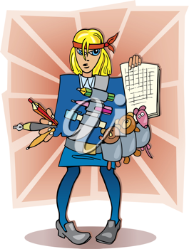 Royalty Free Clipart Image of a Girl Student