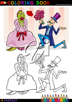 Coloring Book or Page Cartoon Illustration of Man making a Proposal to Monster Lady Fairytale Characters