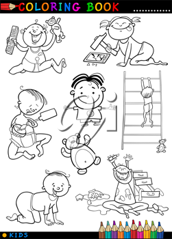 Coloring Book or Page Cartoon Illustration of Funny Cute Babies and Children
