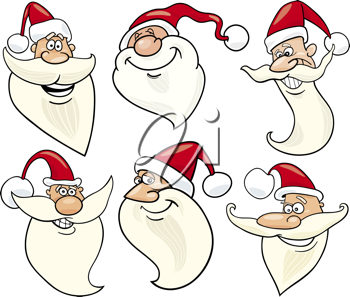 Cartoon Illustration of Santa Claus or Papa Noel or Father Christmas Happy Faces Icons Set