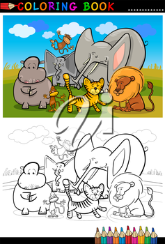 Cartoon Illustration of Funny African Wild Animals like Elephant, Hippo, Lion and Monkey for Coloring Book or Coloring Page