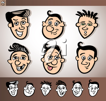 Cartoon Illustration of Funny People Set with Men Heads plus Black and White versions