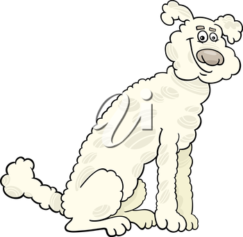 Cartoon Illustration of Cute White or Beige Poodle Dog