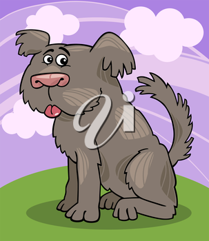 Cartoon Illustration of Funny Shaggy Sheepdog or Bobtail Dog against Sky with Clouds