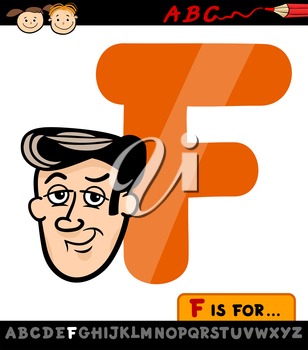 Cartoon Illustration of Capital Letter F from Alphabet with Face for Children Education