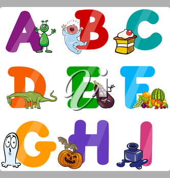 Cartoon Illustration of Funny Capital Letters Alphabet with Objects for Language and Vocabulary Education for Children from A to I