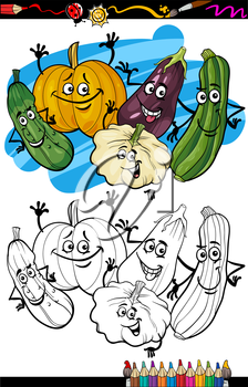 Coloring Book or Page Humor Cartoon Illustration of Cucurbit or Gourd Vegetables Comic Food Objects Group for Children Education