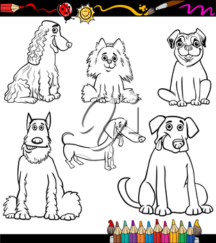 Coloring Book or Coloring Page Black and White Cartoon Illustration of Funny Purebred Dogs or Puppies