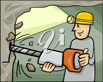 Cartoon Illustration of Miner at Work in the Coal Mine
