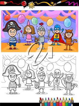 Royalty Free Clipart Image of a Child's Costume Party in Colour and Black and White