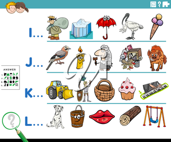 Cartoon illustration of finding pictures starting with referred letter educational task worksheet for preschool or elementary school children with funny characters and objects